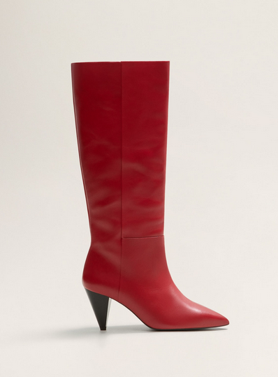 acheter populaire ecfbc f0f9f Bottes hautes cuir rouge Mango - Cristina Cordula