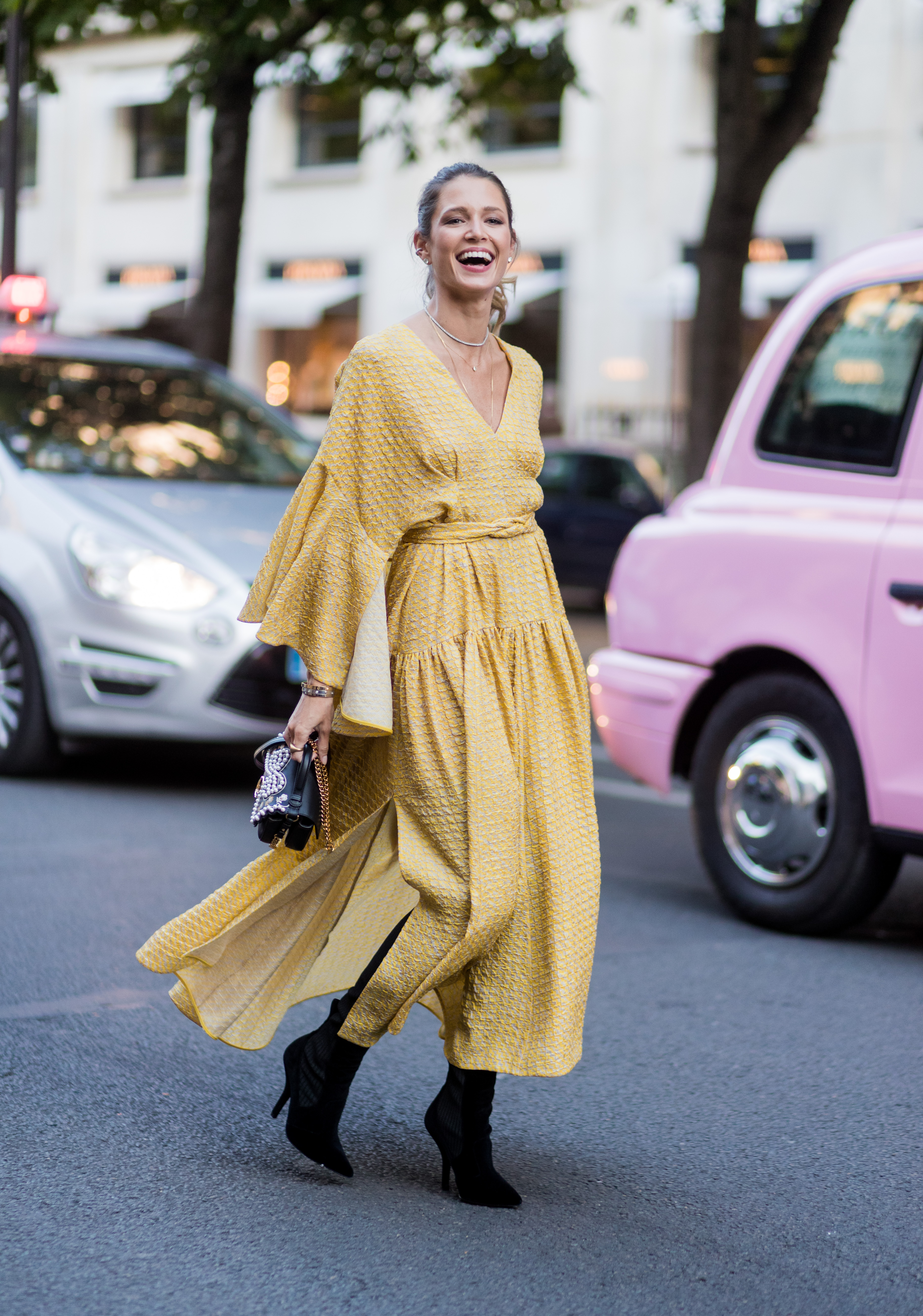 PARIS, FRANCE - JULY 05: Helena Bordon wearing a yellow dress outside Fendi during Paris Fashion Week - Haute Couture Fall/Winter 2017-2018 : Day Four on July 5, 2017 in Paris, France. (Photo by Christian Vierig/Getty Images)