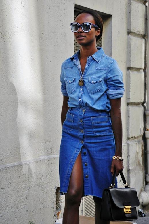 Total look chic-décontracté avec jupe en jean