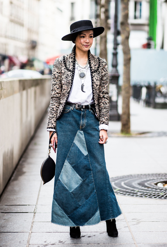 Inspiration maxi-jupe jean