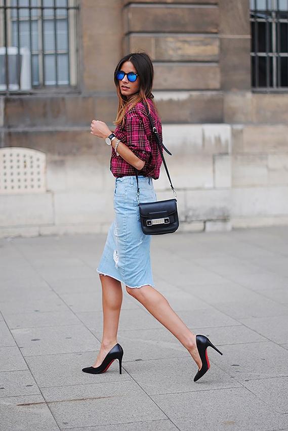 Inspiration jupe en jean longueur genou